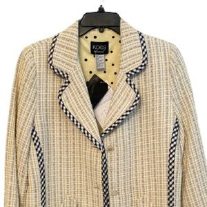 Koos of Course Yellow Tweed Silk Blend Lined Midi Jacket Coat Size Small